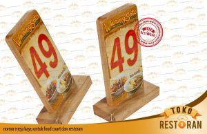 nomor meja kayu untuk food court dan restoran