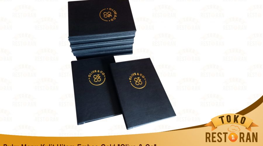 Buku Menu Kulit Sintetis Embossed Logo Gold